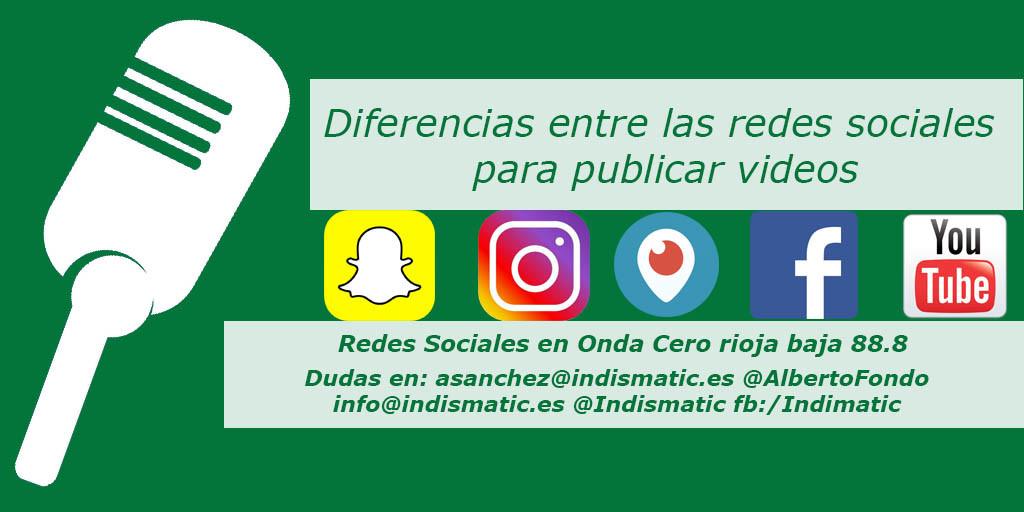 Diferencias entre las redes sociales para publicar videos entre Snapchat Instagram Periscope Facebook Youtube